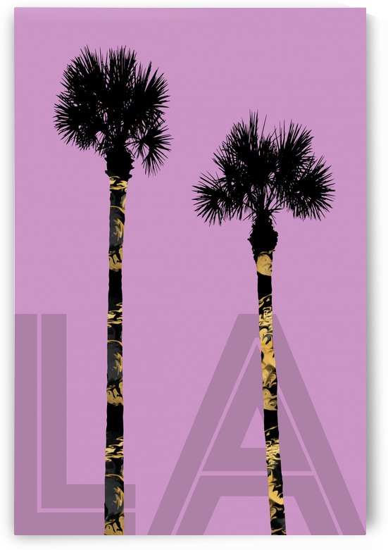Graphic Art PALM TREES LA | pink by Melanie Viola