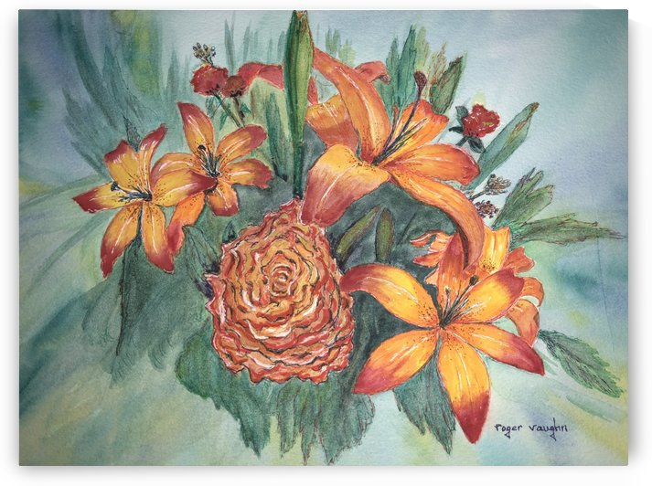 Day Lilies and Cabbage Rose by roger vaughn