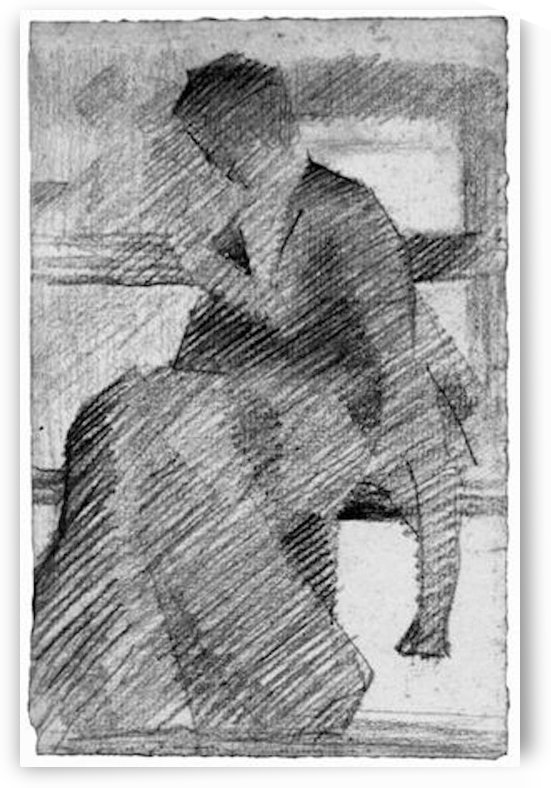 Woman on a bench by Seurat by Seurat