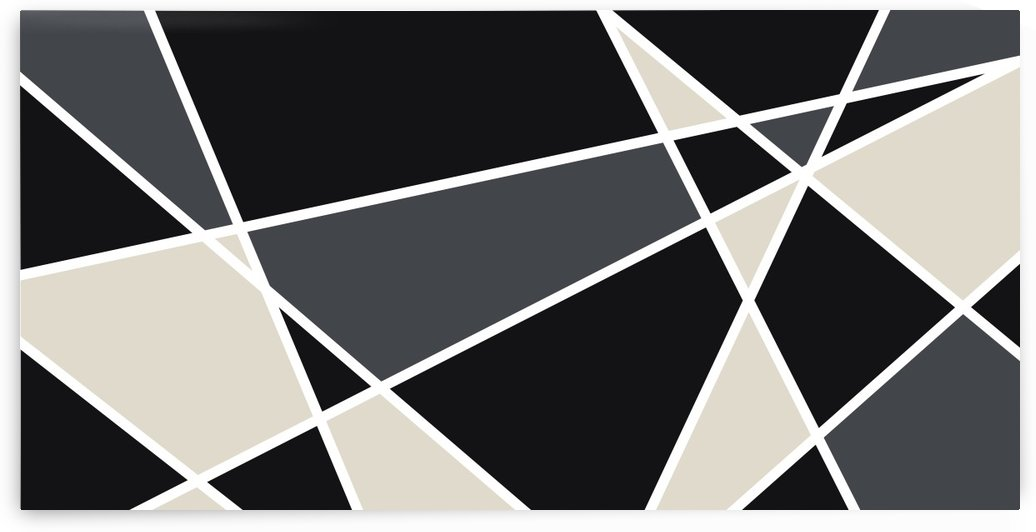 Edit Voros Black Gray Geometric Triangles 102-B by Edit Voros