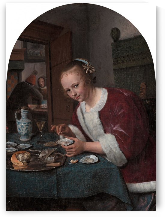 Girl eating oysters by Jan Steen