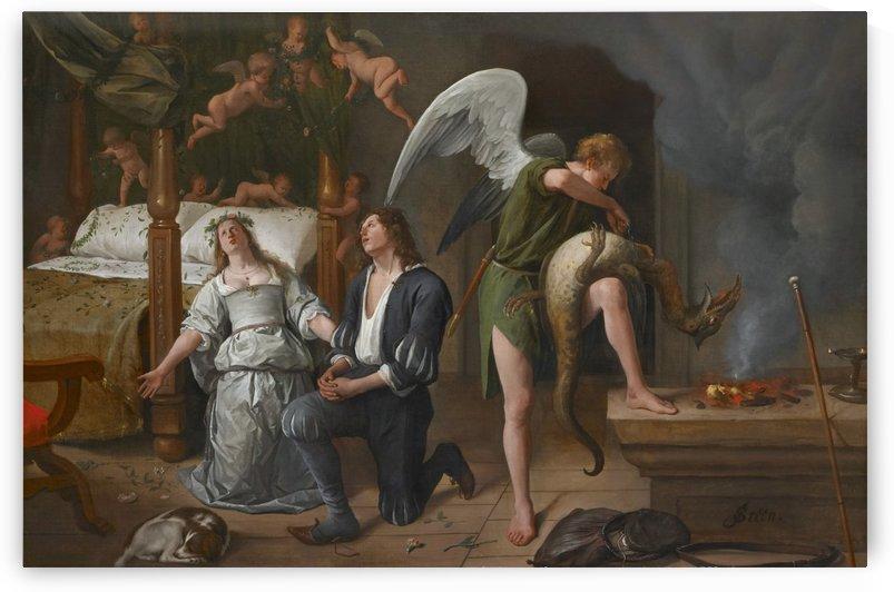 Tobias en Sarah bidden terwijl Rafael bindt de demon by Jan Steen