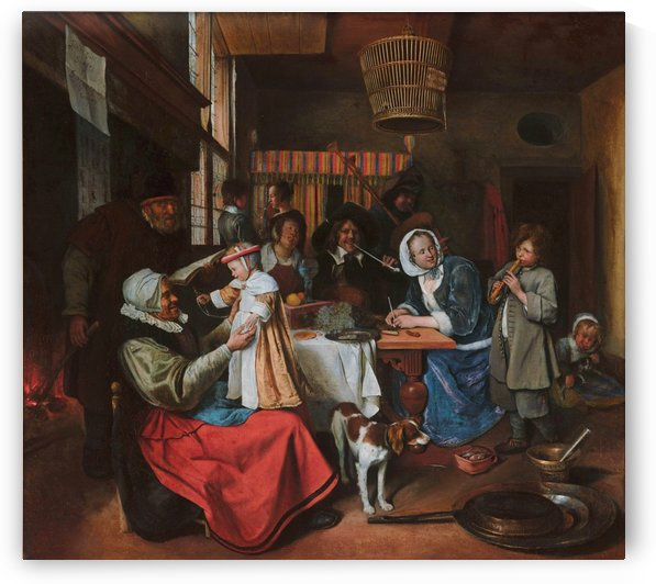 As the old sing, so twitter the young by Jan Steen
