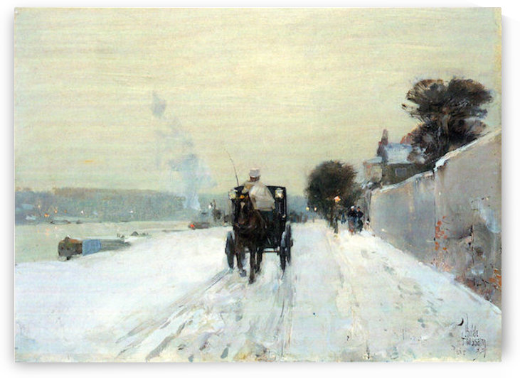 Along the Seine, Winter by Hassam by Hassam