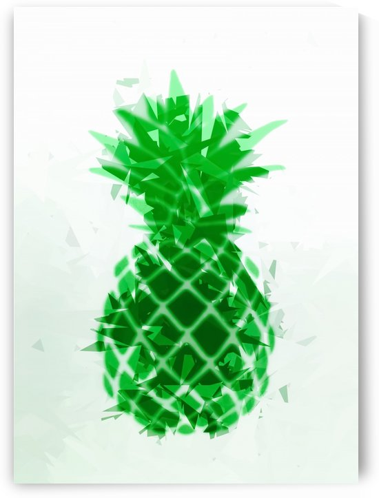 pineapple in green with geometric triangle pattern abstract by TimmyLA
