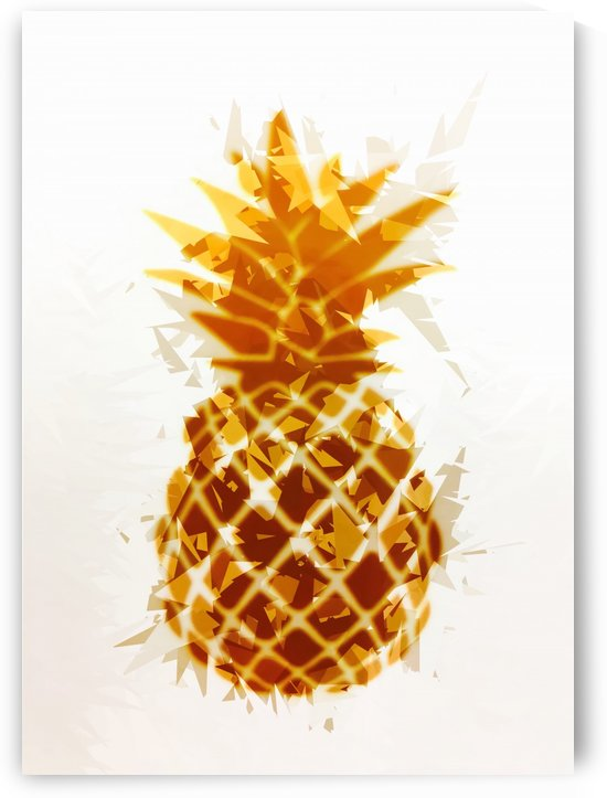 pineapple in brown and yellow with geometric triangle pattern abstract by TimmyLA