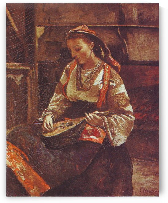 Corot italienne mandoline by Jean-Baptiste-Camille Corot