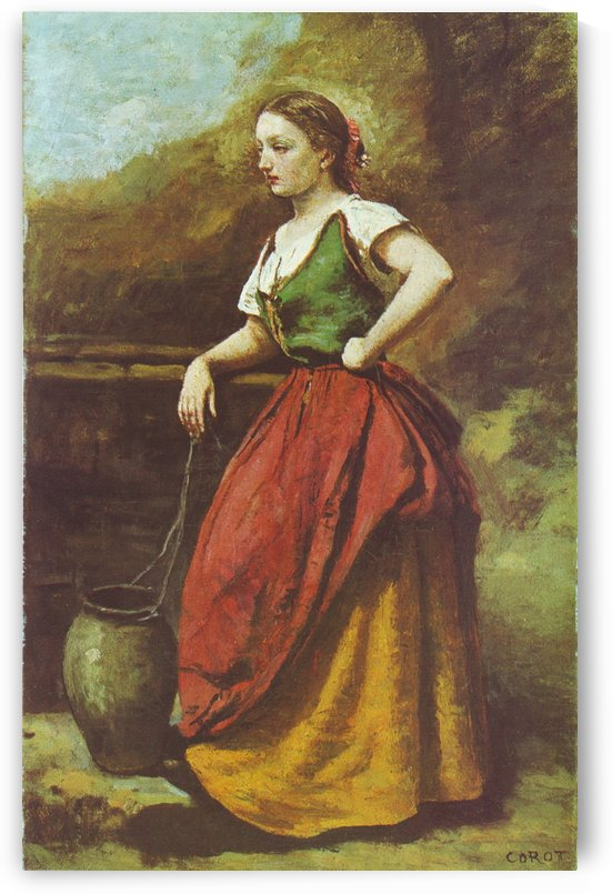 Corot jeune femme au puits by Jean-Baptiste-Camille Corot