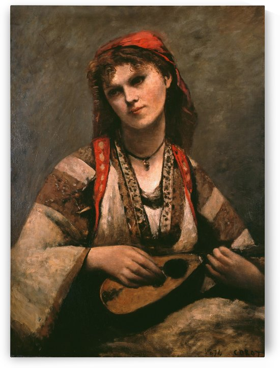 Gypsy Girl with Mandolin by Jean-Baptiste-Camille Corot
