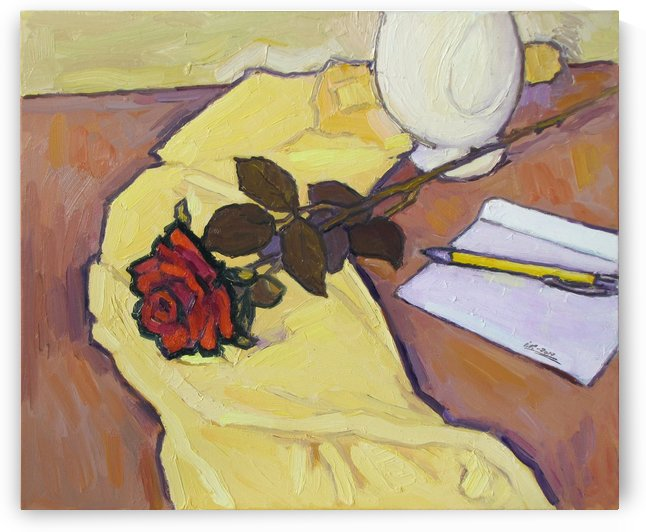 The Rose on Yellow Tablecloth-2 by Ivan Kolisnyk