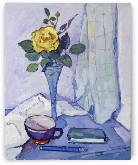 Still Life with Yellow Rose by Ivan Kolisnyk