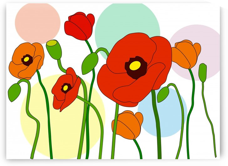 Red And Orange Poppy Flowers by One Simple Gallery