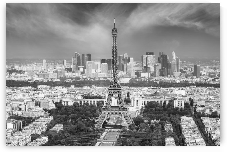Paris Skyline | Monochrome Panorama by Melanie Viola