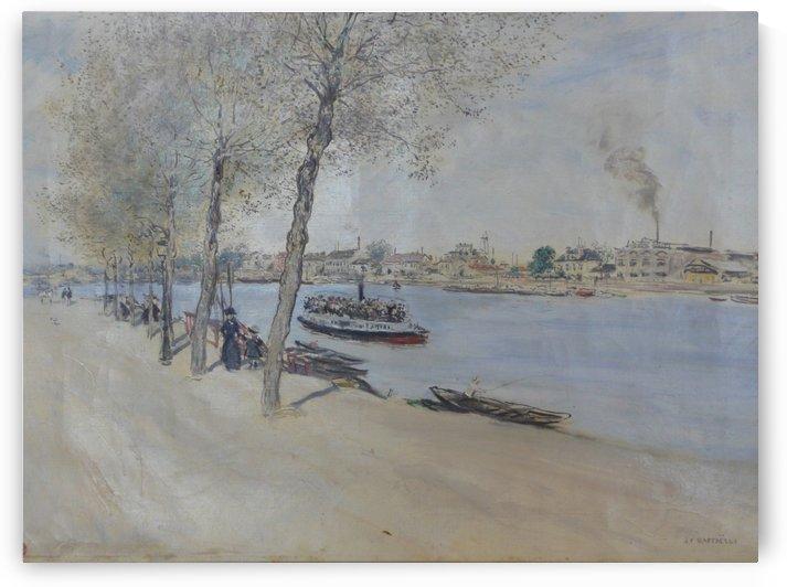 Bord de l eau au printemps by Jean-Francois Raffaelli