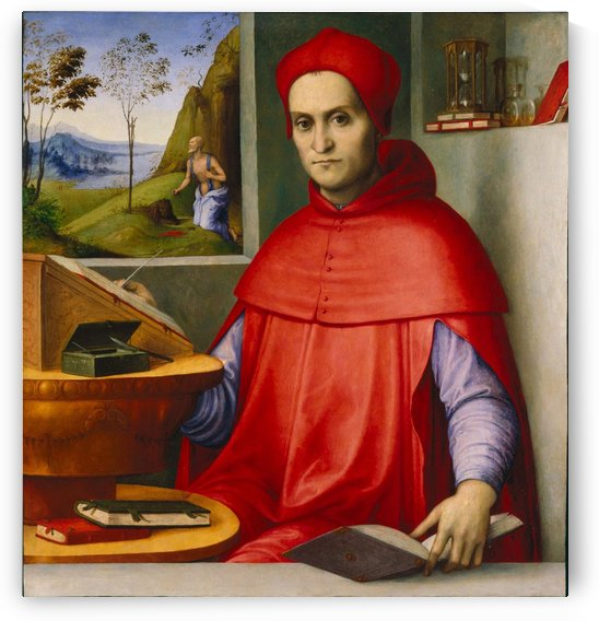 Portrait of a Cardinal in his Study by Lorenzo Costa