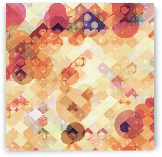 geometric square pixel and circle pattern abstract in orange brown by TimmyLA