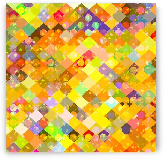geometric square pixel and circle pattern abstract in yellow orange red blue by TimmyLA