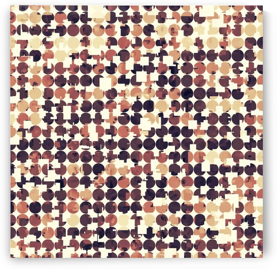 geometric square and circle pattern abstract in brown by TimmyLA