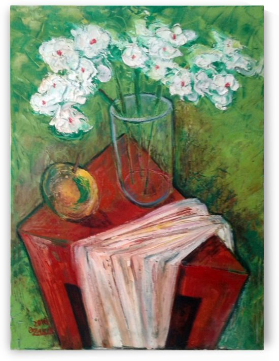 9.White Flower 2016year40x30cmOriginal Painting Oil on Canvas 2500$ by ZAKIR AHMEDOV
