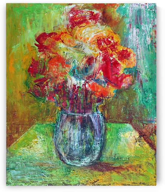 30.FLOWCRS.2014year oil on canvas 45x55cm2000$ by ZAKIR AHMEDOV