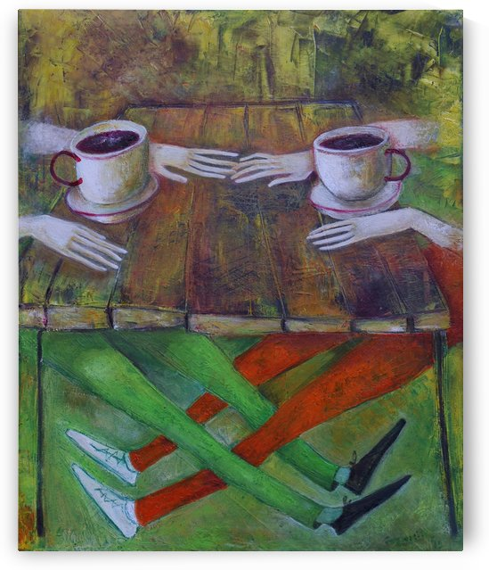 19..Kafe 2013 year Original Painting Oil on Canvas  55x45cm3500$ by ZAKIR AHMEDOV