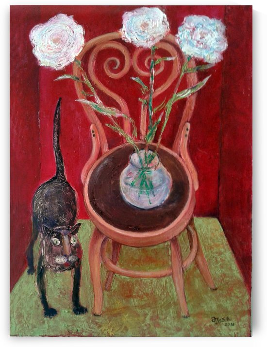 07.Cat And Flowers2016 year Oil Paintings on Canvas70x50cm2500$ by ZAKIR AHMEDOV