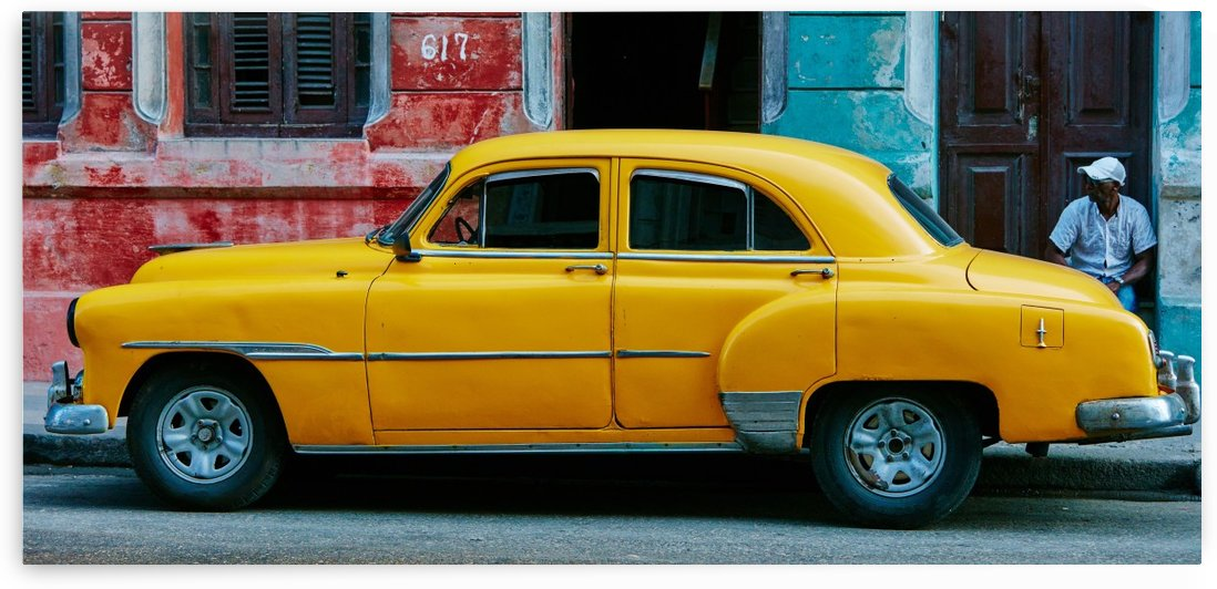 Parked Retro Yellow Car by GorgeousWorld_Store