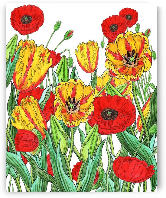 Parrot Tulips And Red Poppies Garden by Irina Sztukowski