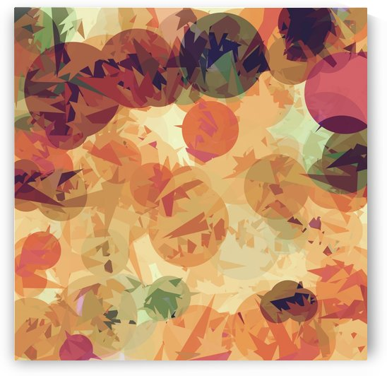 geometric circle and triangle pattern abstract background in orange brown green by TimmyLA