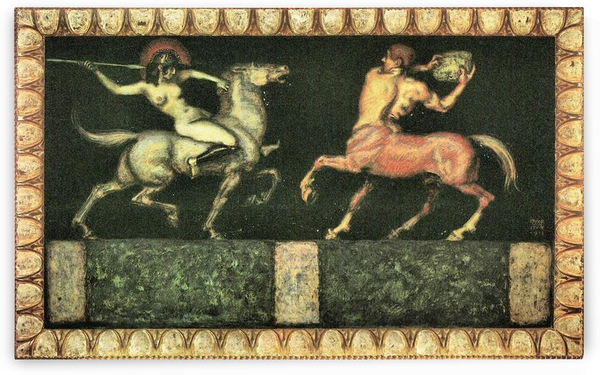 Amazon and the Centaur by Franz von Stuck by Franz von Stuck