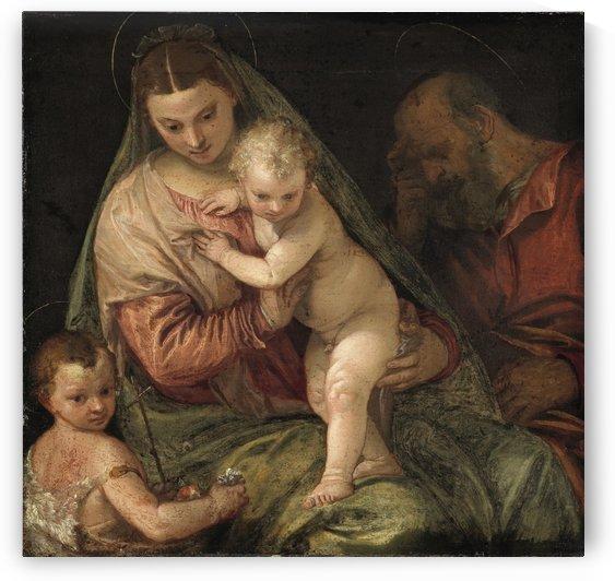 De heilige familie met de kleine Johannes by Paolo Veronese
