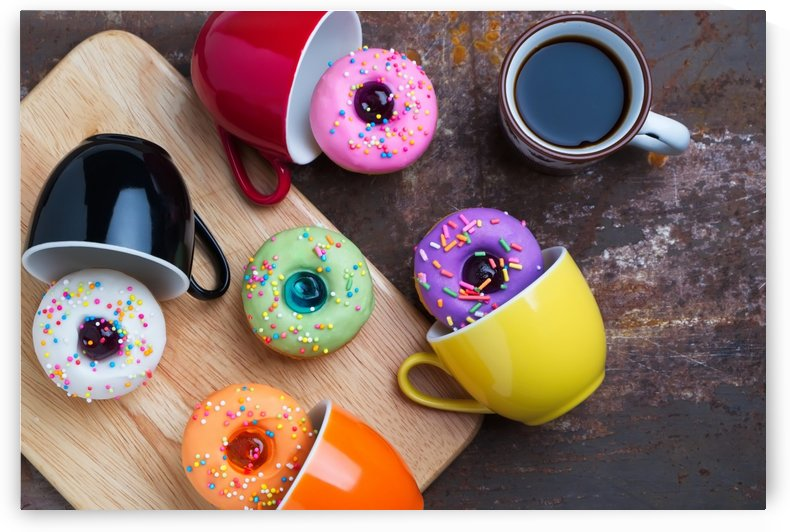 Fancy donuts with cup of black coffee by Krit of Studio OMG