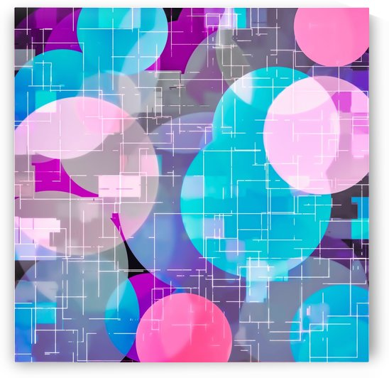 geometric square and circle pattern abstract in blue pink purple by TimmyLA