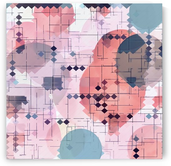 geometric square pixel pattern abstract with circle pattern background in red pink blue by TimmyLA