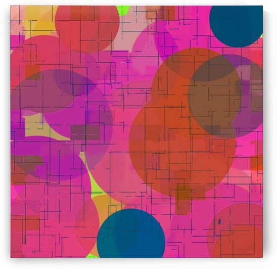 geometric square and circle pattern abstract in pink red blue by TimmyLA