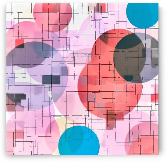 geometric square and circle pattern abstract in red pink blue by TimmyLA