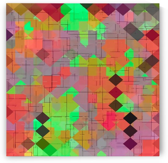 geometric square pixel pattern abstract in green orange red by TimmyLA