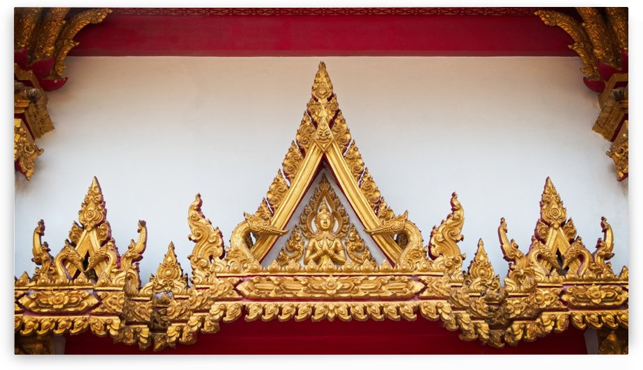 Golden statue of Archway in Thai temple by Krit of Studio OMG