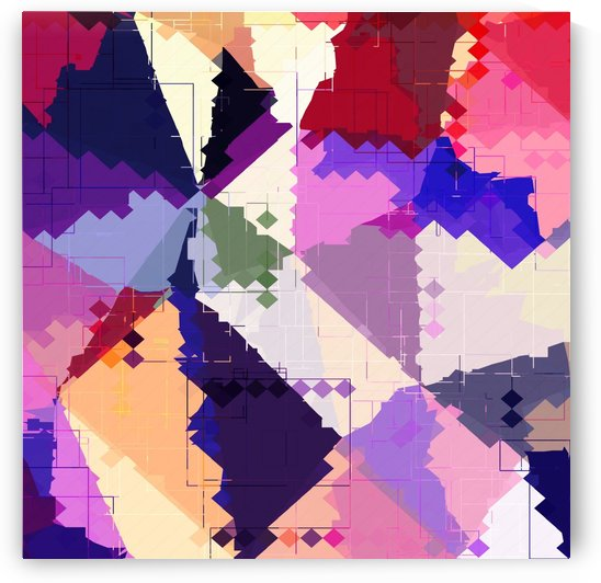 geometric square pixel and triangle pattern abstract in pink purple blue by TimmyLA