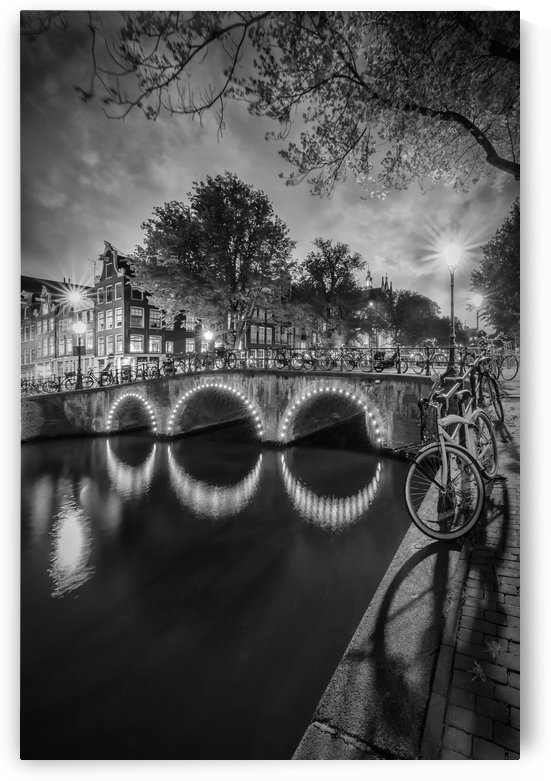 AMSTERDAM Idyllic nightscape from Keizersgracht   Monochrome by Melanie Viola