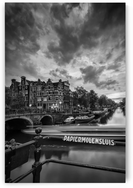 AMSTERDAM Idyllic nightscape from Brouwersgracht   Monochrome by Melanie Viola