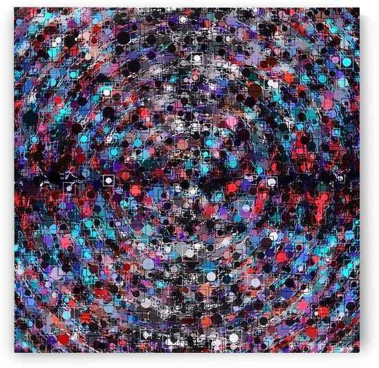 geometric circle and square pattern abstract in blue and red by TimmyLA