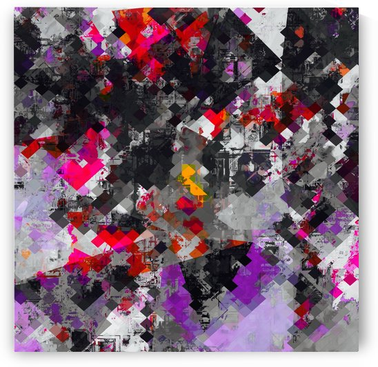 geometric square pixel pattern abstract in purple red black by TimmyLA
