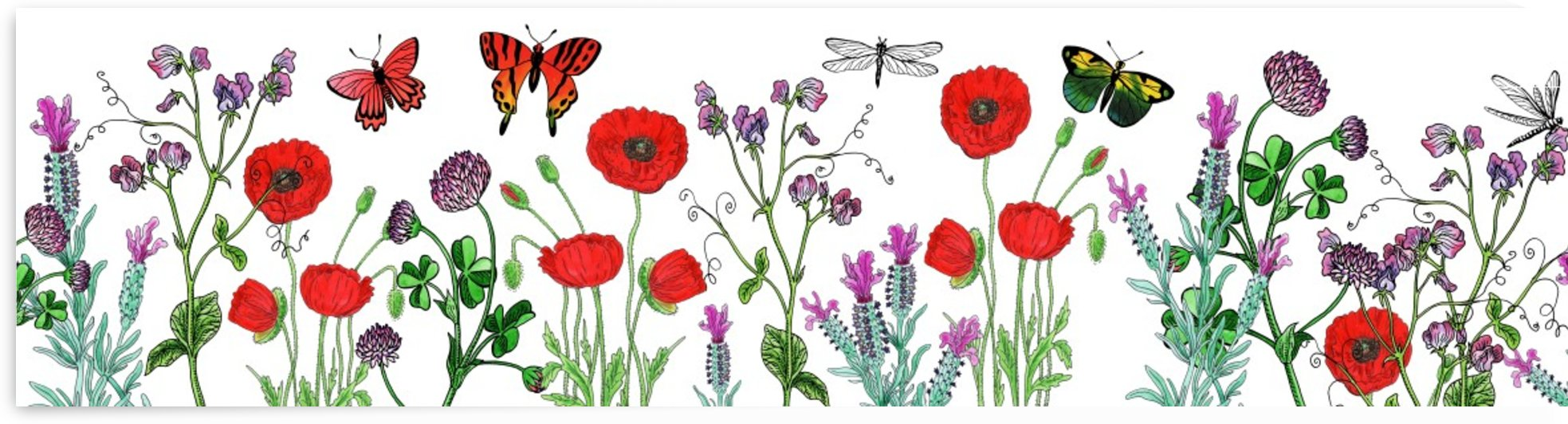 Wildflowers Field With Red Poppies Clover Lavender And Butterflies by Irina Sztukowski
