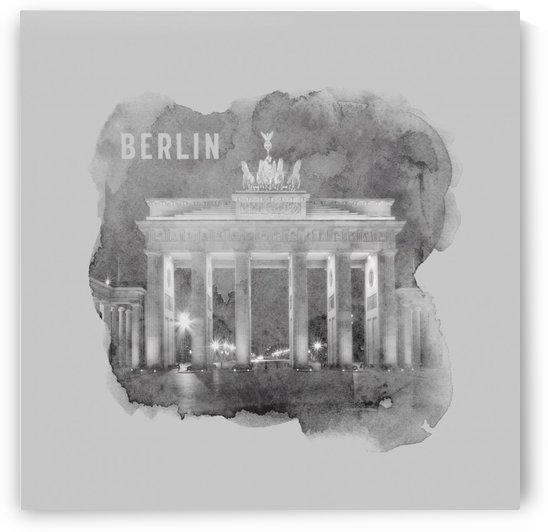 BERLIN Brandenburg Gate   monochrome watercolor by Melanie Viola