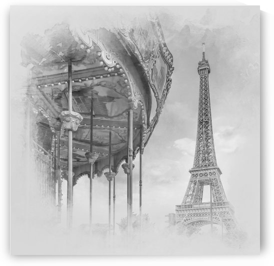 Typical Paris   monochrome watercolor by Melanie Viola