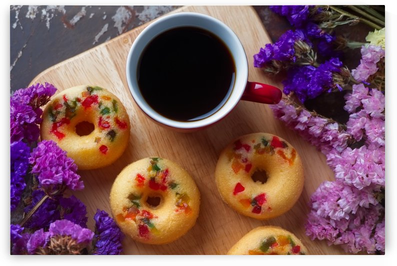 Fruity donuts with a cup of coffee by Krit of Studio OMG
