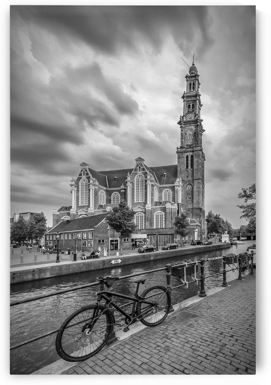 AMSTERDAM Westerkerk and Prinsengracht   monochrome by Melanie Viola