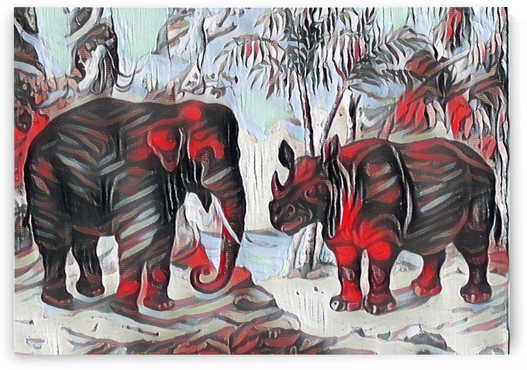 Elephant And Rhinoceros_On A Cold Rain_OSG by One Simple Gallery
