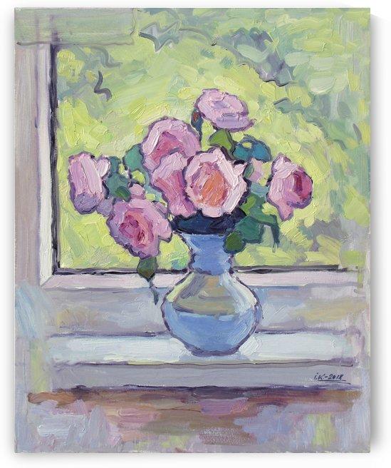 Tea Roses Bouquet on the Windowsill by Ivan Kolisnyk